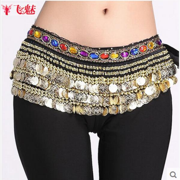 New products 9 color egypt belly indian dance dancing gypsy costume hip scarf skirt 3 rows coin 338 diamond belt accessories hip(China (Mainland))