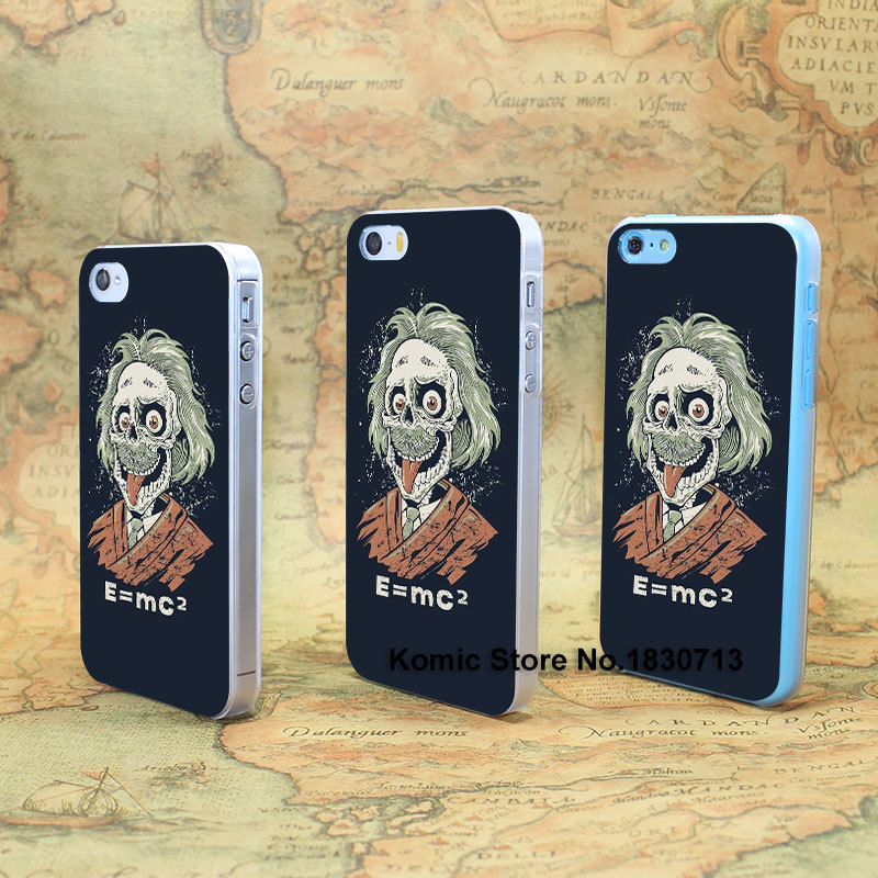 Albert Einstein Caricature Design hard transparent clear Skin Cover Case for iPhone 4 4s 4g 5 5s 5g 5c(China (Mainland))