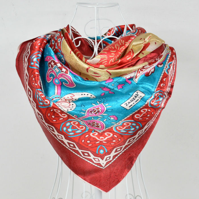 2014 Polyester Silk Scarf Printed,Fashion Women Red Big Square Scarf Shawl,New Design Jacquard Large Satin Scarves 110*110cm(China (Mainland))
