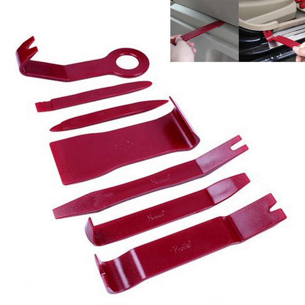 7pcs/ Set Car Sound Disassembly Tool In The Control Area Sound Refit Set Disassembly Tool red Color W25(China (Mainland))