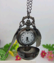 New Fashion Antique Black Wings Steampunk Harry Potter Quartz Pocket Watch Pendant Necklace Chain(China (Mainland))