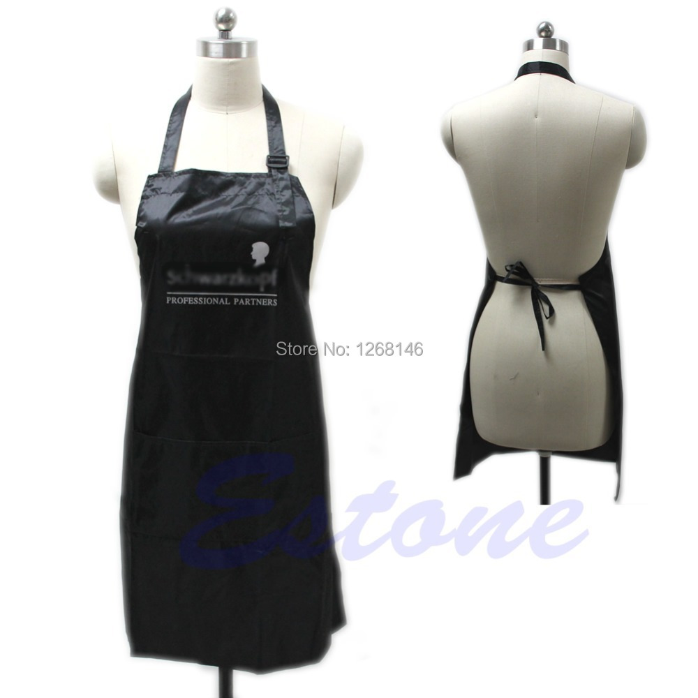S111 Free Shipping Black Adjustable Apron Bib Uniform With 2 Pockets Hairdresser Salon Hair Tool(China (Mainland))