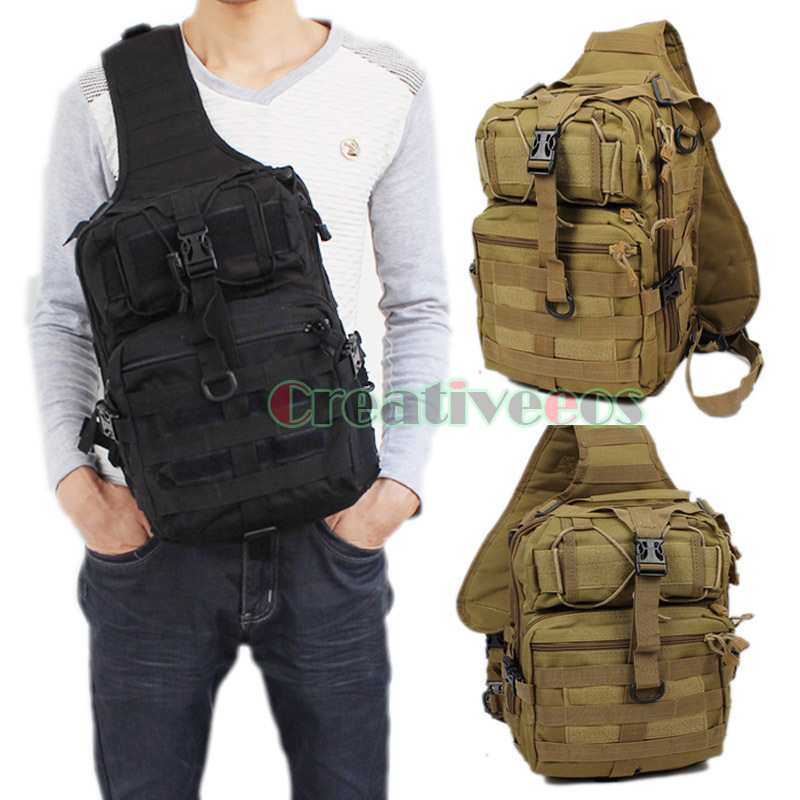 Men 600D Nylon Military Tactical Travel Hiking Riding Bike Cross Body Messenger Shoulder Back pack Sling Chest Waterproof Bag(China (Mainland))