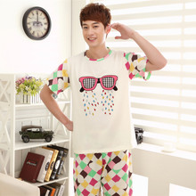 New 2015 Men'S Pajama Sets Short Sleeve Cotton Cartoon Pijama Feminino Mujer Home Sleep Wear Free Shipping(China (Mainland))