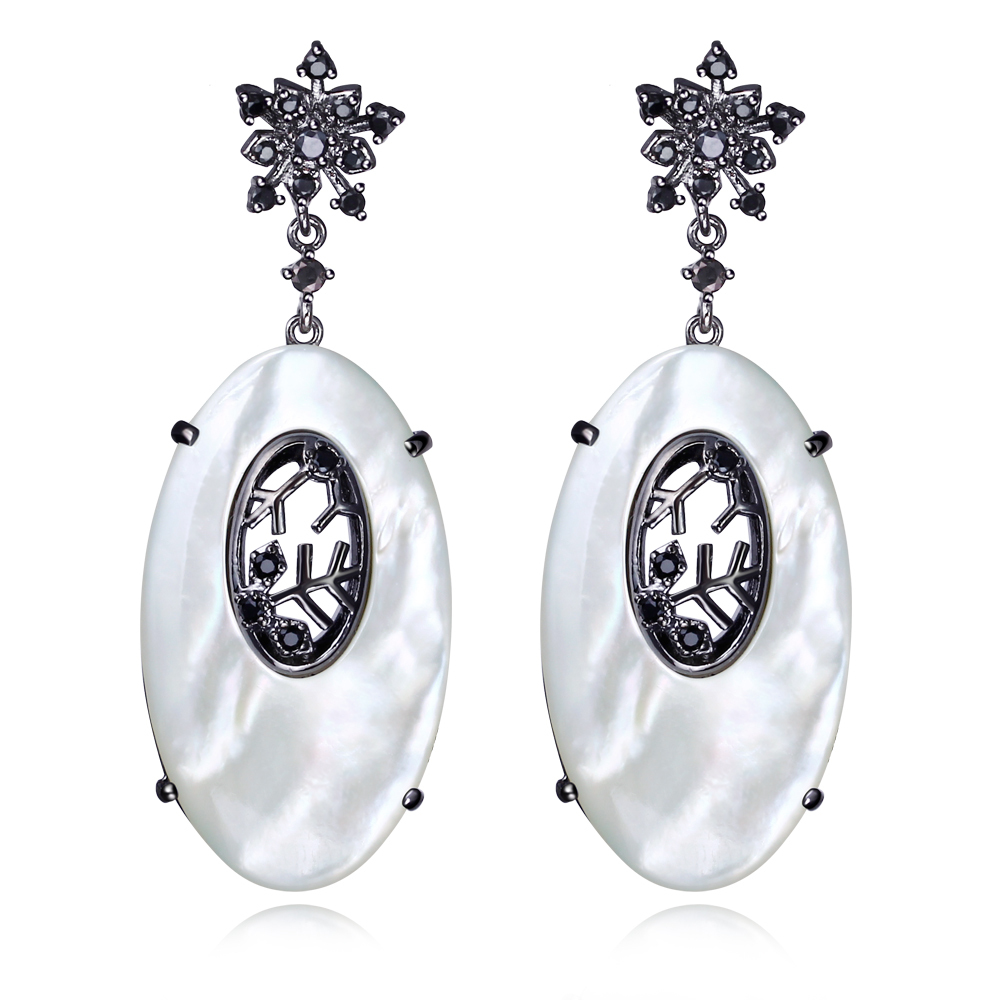 Mother of pearl shell earrings dangle white gold dangles earrings Large Cubic Zirconia Micro Pave Setting Bridal Wedding<br><br>Aliexpress