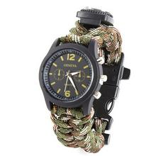 Outsports Survival Bracelet With Watch Compass Flint Fire Starter Scraper Buckle Whistle Gear for Hiking Camping Hunting Boating