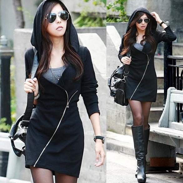 Новинка сексуальные женщины черный с капюшоном свободного покроя с длинным рукавом наклонные молнии тонкий капюшоном рубашка 3 размер