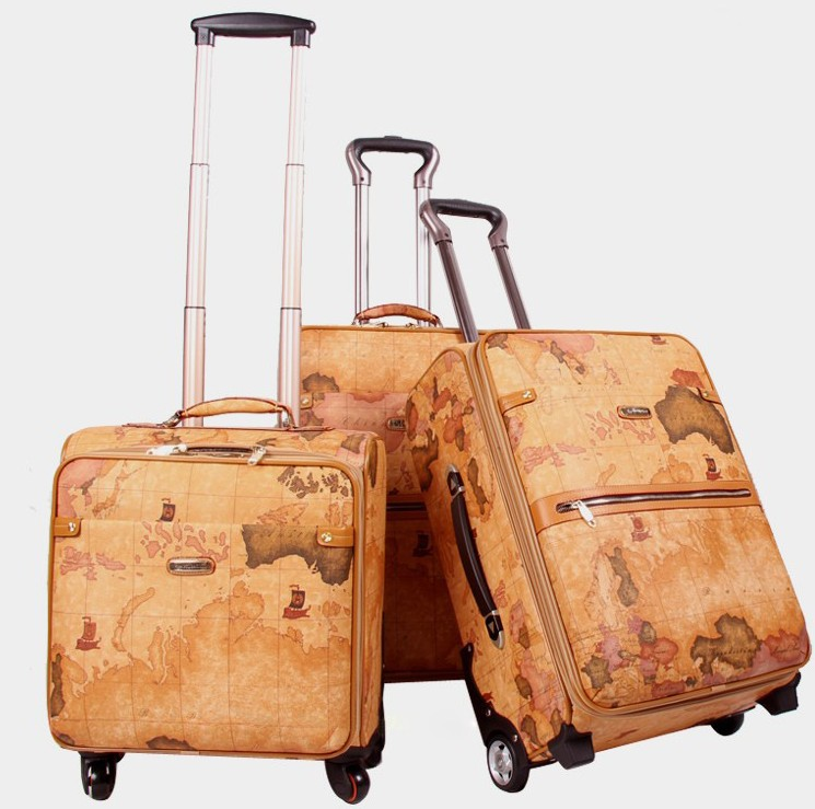 """Men and Women PU Leather Trolley Luggage Map Pattern Travel Suitcase Universal Wheels Luggage Travel Bag 20"""" 24"""" Rolling Luggage(China (Mainland))"""