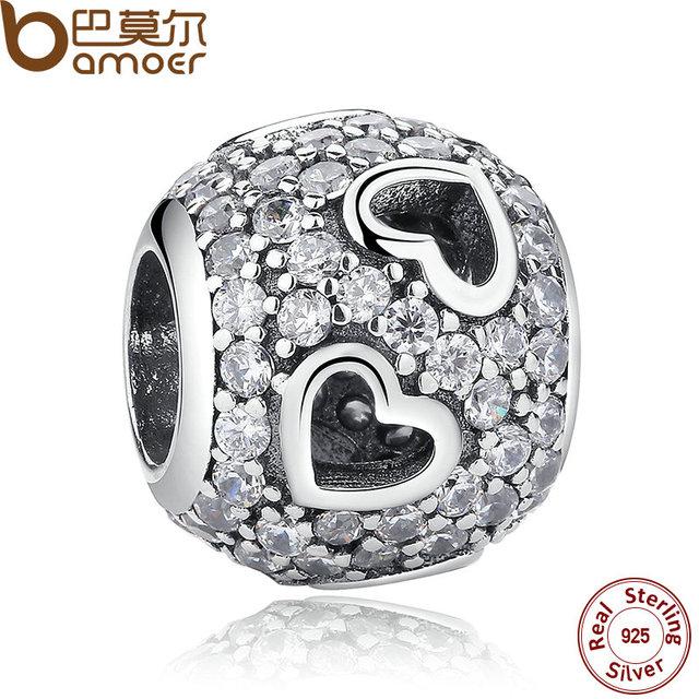 BAMOER Новый Модный Стерлингового Серебра 925 Подвески Акробатика Сердца, ясно CZ ...