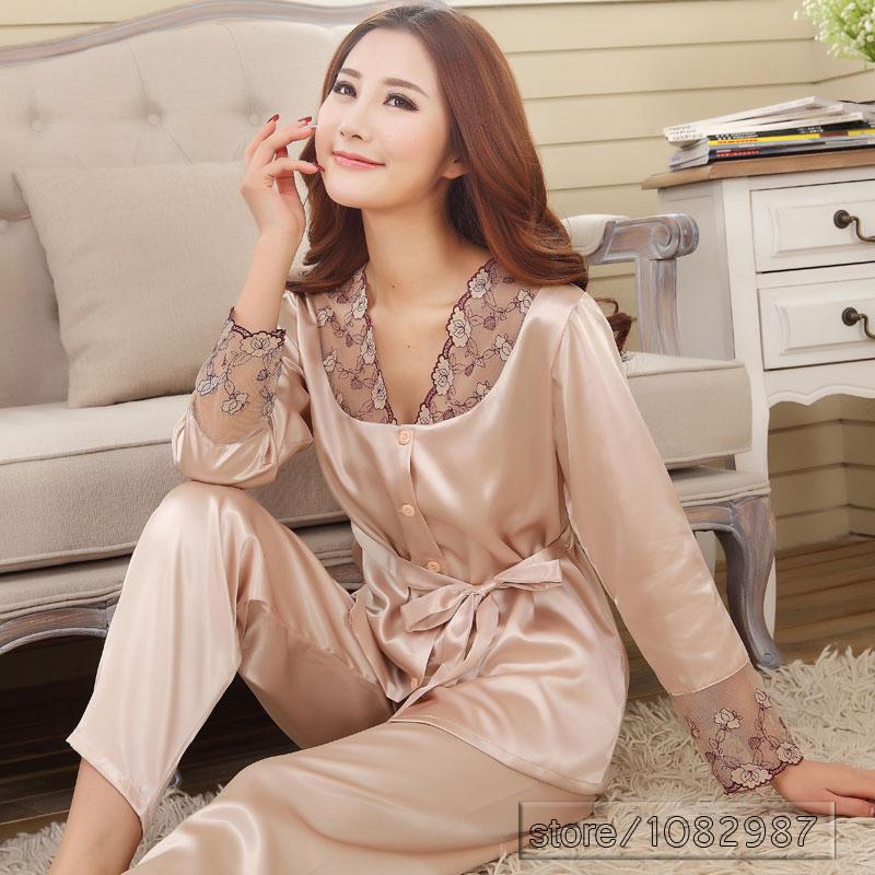 2016 Spring Summer Autumn Silk Women Pajamas Sets of Sleepshirt & Sleep Shorts Lady Nightdress Female Home Clothes Plus Size 3XL(China (Mainland))