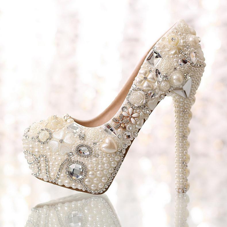 Wholesale pearl diamond wedding shoes ultra high heel platform white genuine leather crystal  fashion bridal shoes single pumps<br><br>Aliexpress