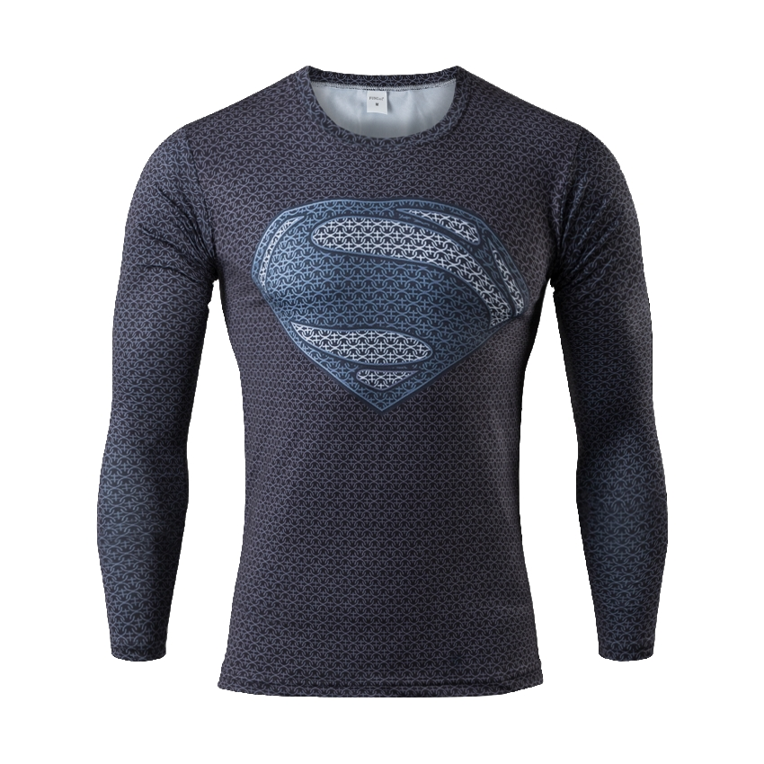 Mens Gym Clothing Sport Fitness tshirt 3D Superman/Captain America Long Sleeve T Shirt Men Crossfit Compression Shirt(China (Mainland))