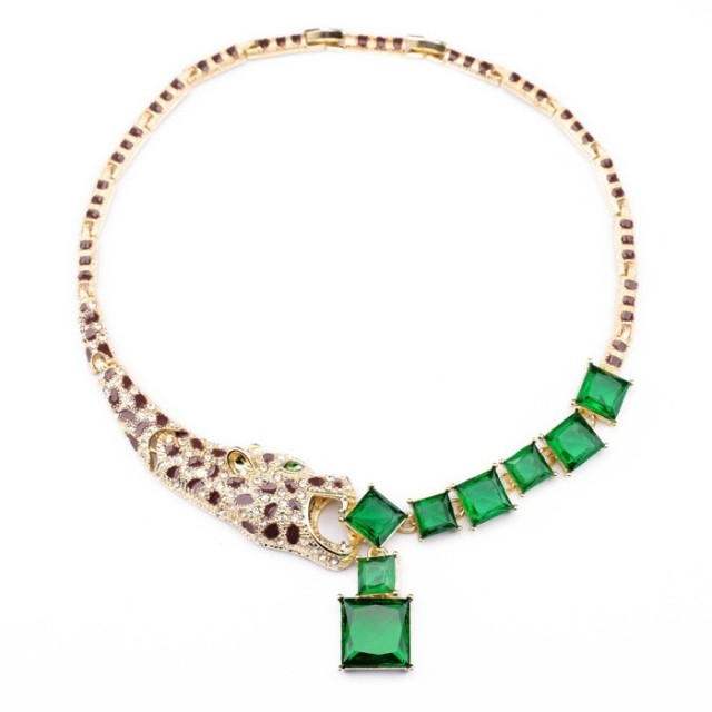 Fashion fashion accessories square green short design geometry leopard head necklace(China (Mainland))