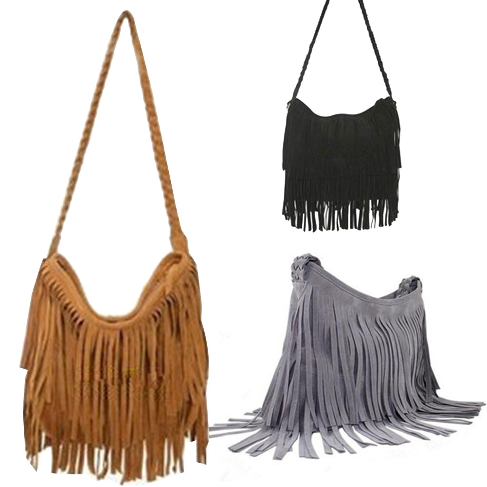 Fashion Women s Suede Weave Tassel Shoulder Bag Messenger Bag Fringe Handbags B2C Shop