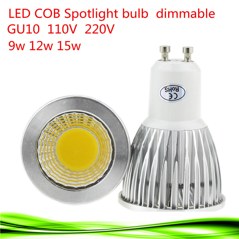 1X Free shipping 110V-220V 9W 12W 15W Dimmable GU10 COB LED lamp light led Spotlight White/Warm white led lighting(China (Mainland))