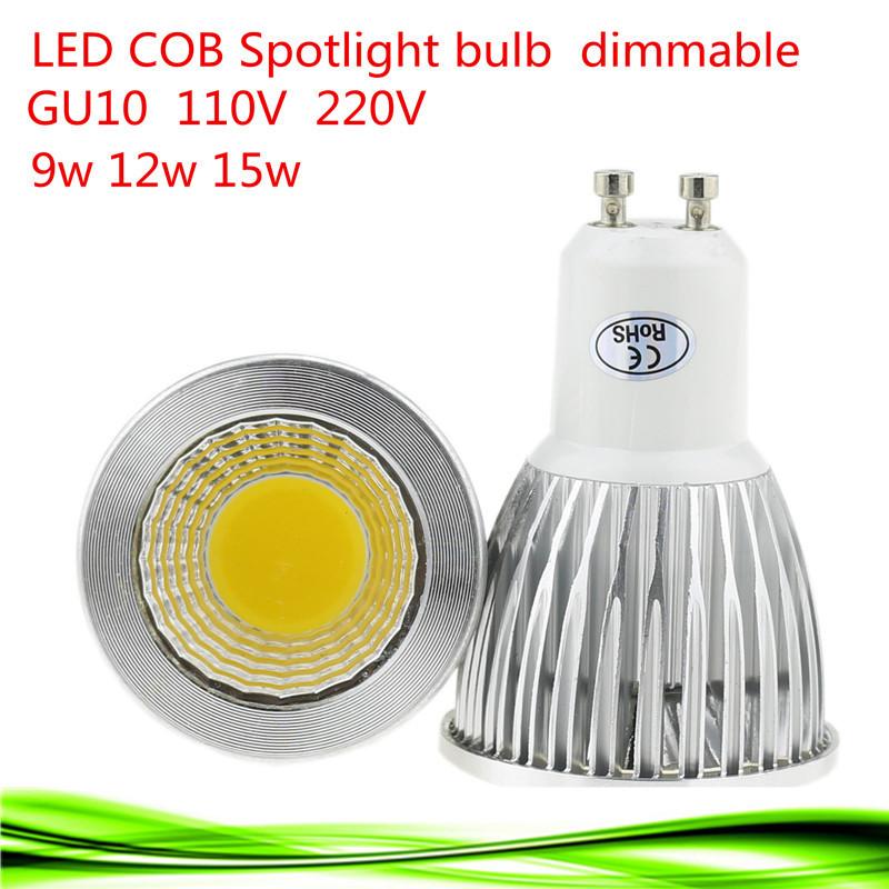 1X Free shipping LED Bulb 110V-220V 9W 12W 15W Dimmable GU10 COB LED lamp light led Spotlight White/Warm white led lighting(China (Mainland))