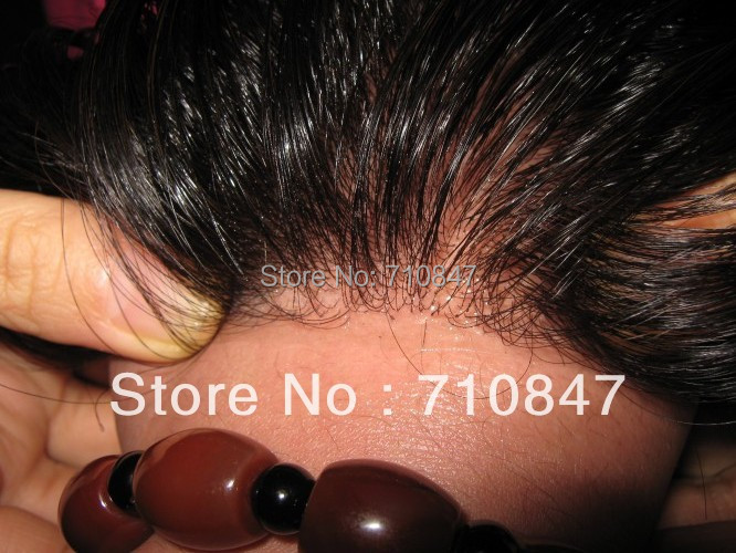 Free shipping ! 100% Good European touch human hair super thin skin knot / V loop slight wave stock men toupee