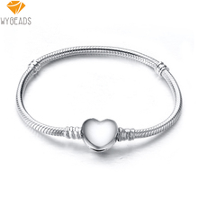 925 Sterling Silver Charm Bracelets Bangle Heart Clasp Snake Chain Bracelet Fit European Charms Silver Beads DIY Jewelry 17-24cm(China (Mainland))