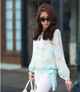 2015 Fashion Women's Chiffon Floral Print Pattern Blouses Casual Puff Long Sleeve Shirt Tops(China (Mainland))