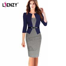 LIENZY 2016 Spring Women Office Dress suit Patchwork Dot Skinny High Wasit Bandage Pencil Dress With Belt 20 Color Plus Size