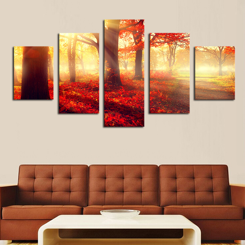 Unframed 5 Panels Modern Sunset Red Trees HD Picture Canvas Print Painting Wall Art For Wall Decor Home Decoration Artwork(China (Mainland))