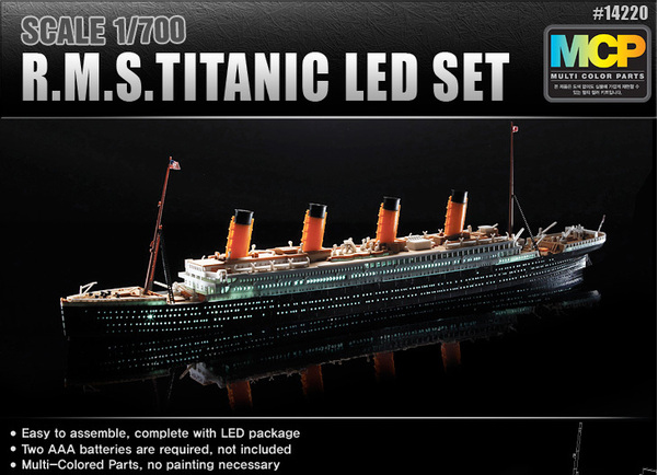 ACADEMY 14220 1/700 Titanic with complete LED package muti-colored parts no painting necessary assembly scale model ship kit(China (Mainland))