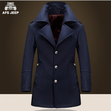 AFS JEEP Classical Design Men;'s Winter Long Slim Wool Trench Coat,Younger Man's Fashion Style Original Brand Jacket,Vintage(China (Mainland))