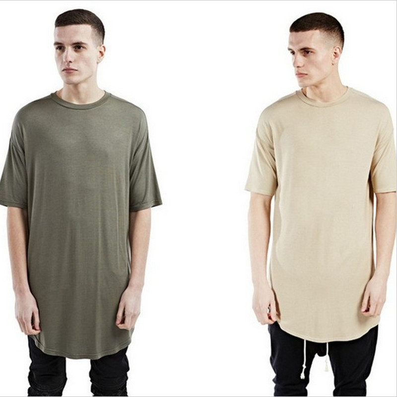 New men hipster street wear kanye west clothing kpop justin bieber clothes men t shirt oversized plain elongated curved hem tee(China (Mainland))