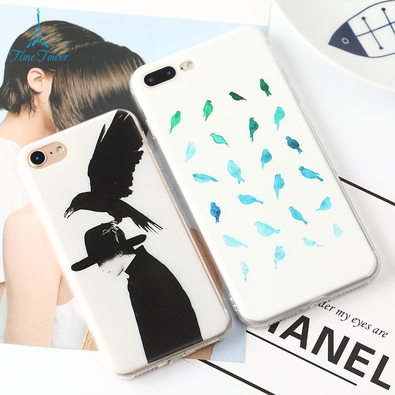 W1990 Mobile Phone Case For Apple Iphone 6s Back Cover Crow Play With The Man Black And White Painted TPU Capa For Iphone 6 Case(China (Mainland))