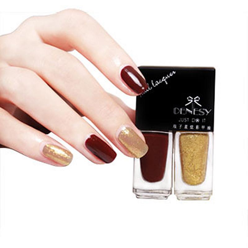 2pcs/set water based peel off glitter nail polish SET 5ML*2 long lasting vogue gold black cheap nail polish lot(China (Mainland))