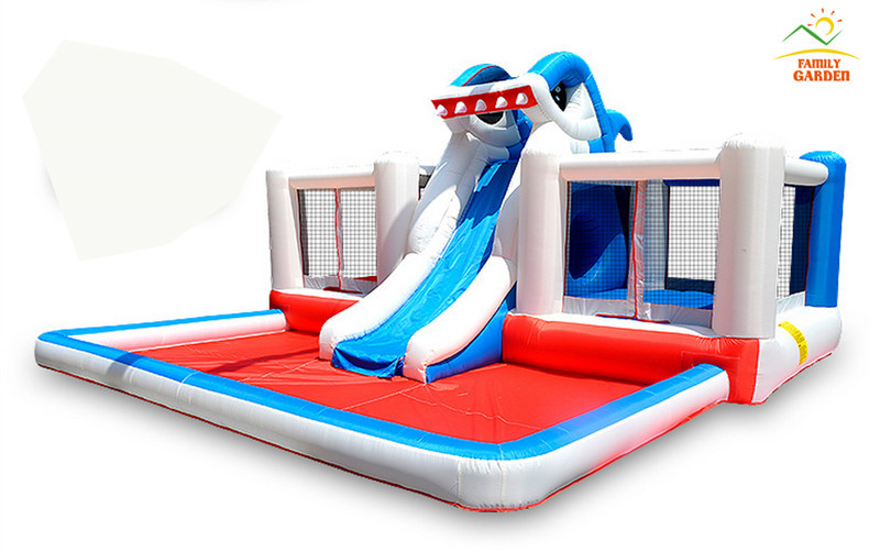 Kids Inflatable Shark Bounce House Jumper Bouncer Jump Bouncy Castle Water Slide With Double Land(China (Mainland))