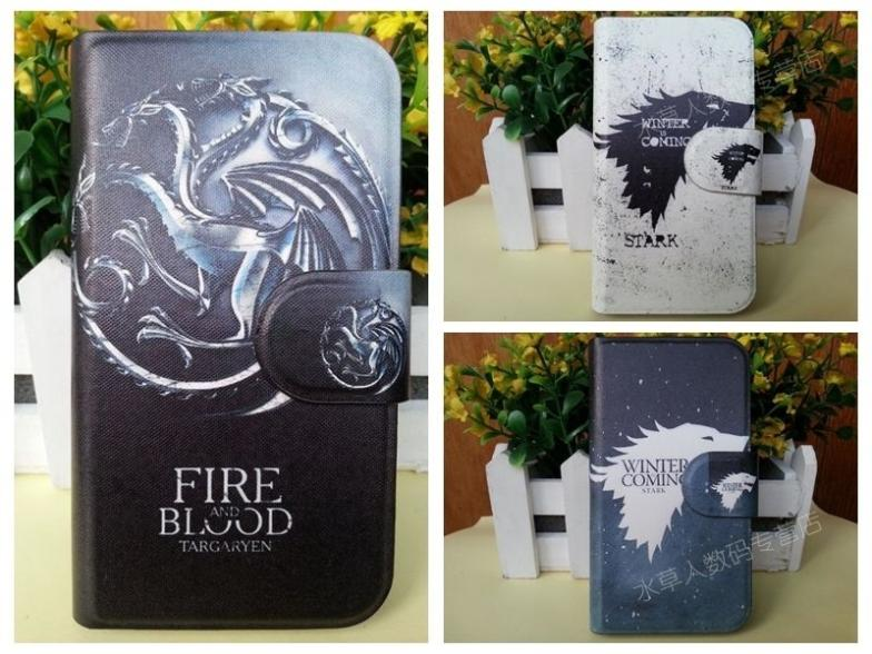 Hot TV Game of Thrones Stark Fire Blood dragon Wolf leather flip case cover for OPPO Find guitar R805 R803(China (Mainland))