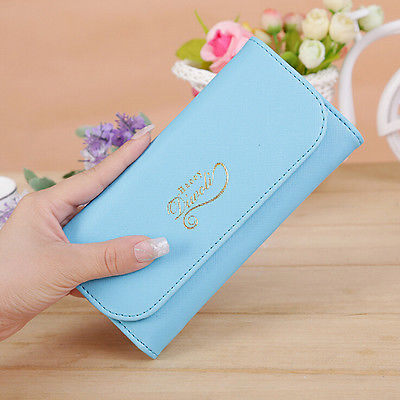 2016 New Womens Ladies Envelope Leather Wallet Button Clutch Purse Brand Long Handbag(China (Mainland))