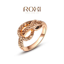 ROXI 2015 Valentine's Day Gift Rose Gold Plated Snake Ring Statement Rings Fashion Jewelry For Women Wedding 2010439180b
