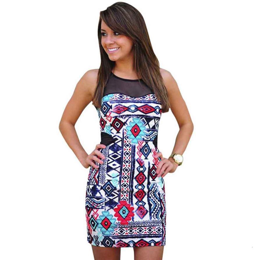 JECKSION Net Yarn Stitching Print Women Dress 2016 Fashion Round Neck Sleeveless Mini Dress Slim Dress #Y35(China (Mainland))