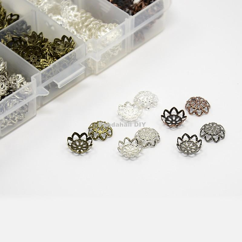 525pcs/box Mixed Color Iron Flower Bead Caps Metal Jewelry Findings 9x4mm, Hole: 1mm;10g/compartment