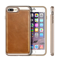For iPhone 7 plus Case Soft TPU Fused With PC and Genuine Leather Textured Cover Dual