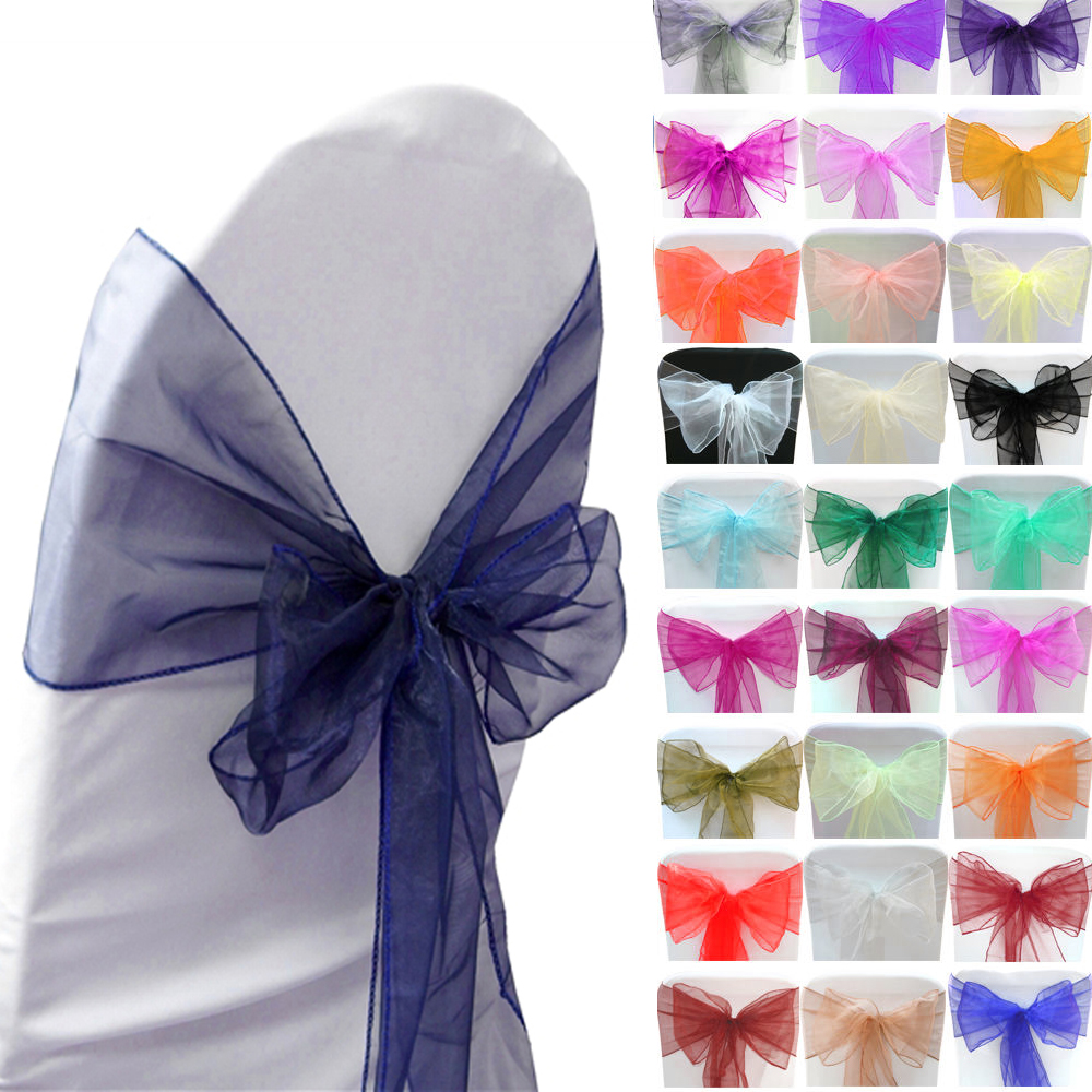 Wedding Decoration 150PCS New Organza Chair Sashes Bow Cover Banquet,wedding party chair decoration 29colors Free shipping(China (Mainland))
