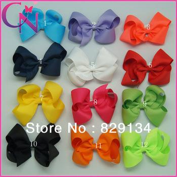"""12 pieces/lot 5"""" Hair Bows Solid Grosgrain Ribbon Hair Bow For Girls Boutique Handmade Hair Bow Hair Clip CNHB-1306023"""