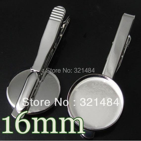 200piece Silver plated Men's Tie Clip Blank Base Cufflinks Round 16mm bezel setting Wholesale