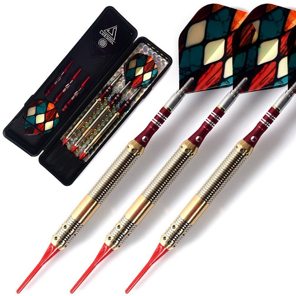 CUESOUL Soft Tip Darts With Dart Shaft,Dart Flight,Dart Wallet For Darts For Electronic Dartboard,Blue Dart Tip Point