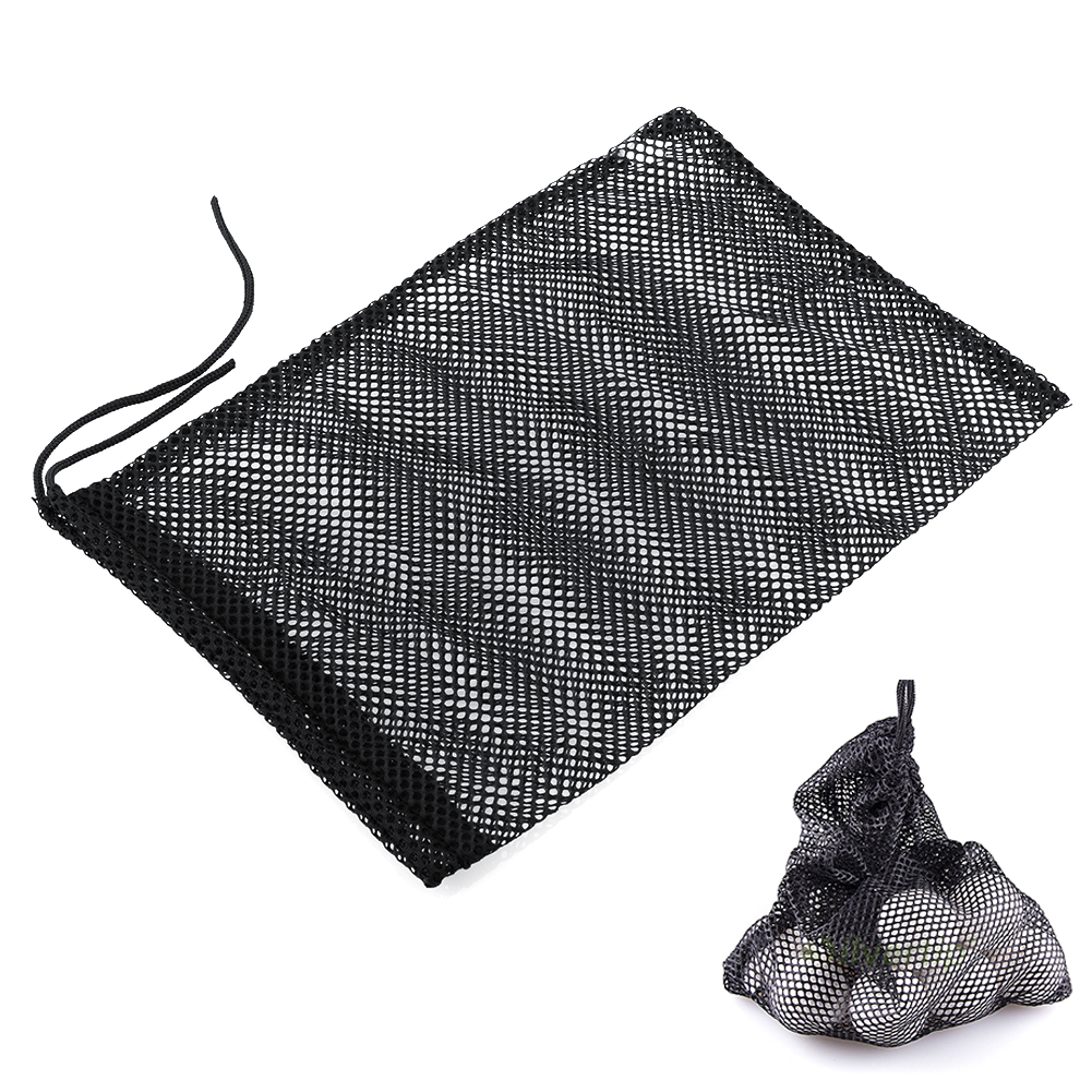 Black Nylon Mesh Nets Bag Pouch Golf Tennis 48 Balls Holder Hold Ball Storage Closure Training Aid Free shipping(China (Mainland))