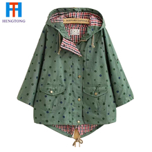 2015 New Women Jackets Spring Cute Batwing Sleeve Polka Dot Printing Pockets Hooded Pockets Button Costume