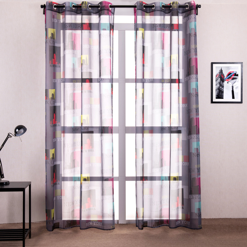 Modern style new york city window curtains living room for New york style curtains