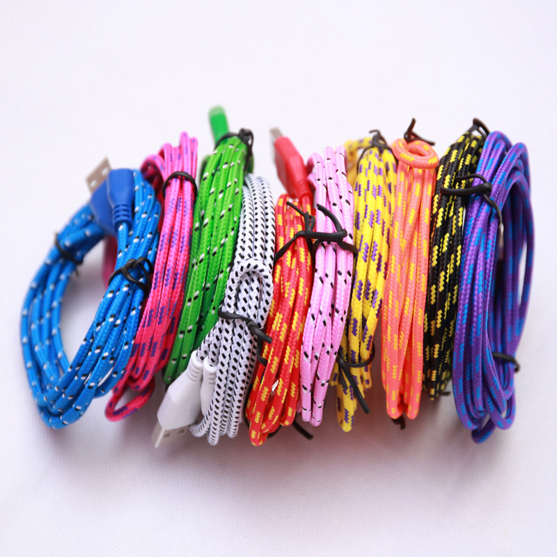 Hot 1m 2m 3m colorful Fabric braided Wire 8pin USB charging data sync cable cords iPhone 5 5S SE 6 6S plus ipod - Shenzhen Doudou Maker E-Business Co.,Ltd store