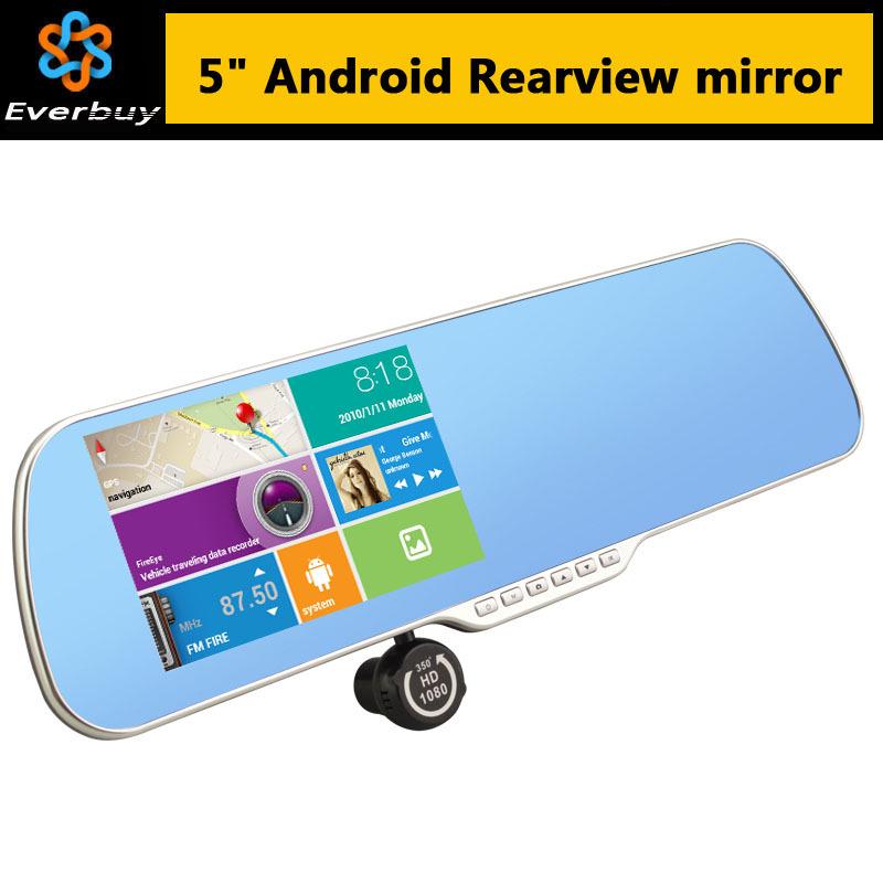 New 5 inch Android Rearview Mirror Car GPS navigation Rear view Full HD 1080P car dvrs Daul camera video recorder vehicle gps(China (Mainland))