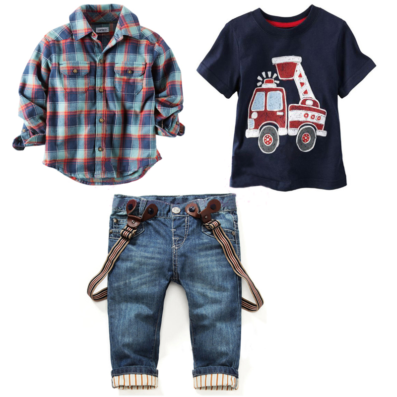 2016 Children's clothing sets for spring Baby boy suit Long sleeve plaid shirts+car printing t-shirt+jeans 3pcs suit set F1802(China (Mainland))