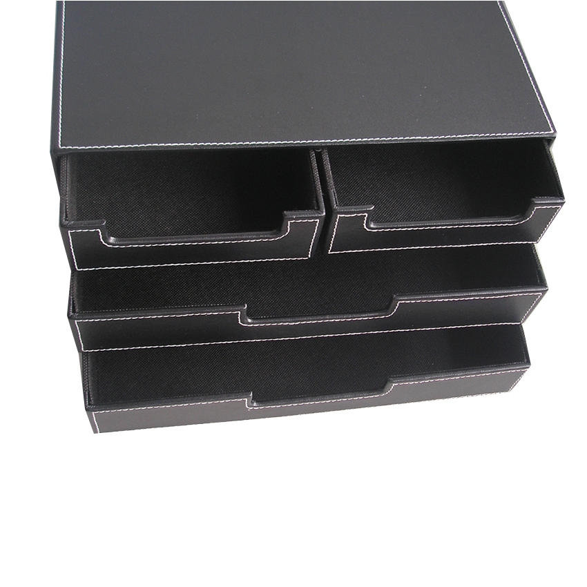 Buy 4 drawer black leather office filing - Black leather desk organizer ...