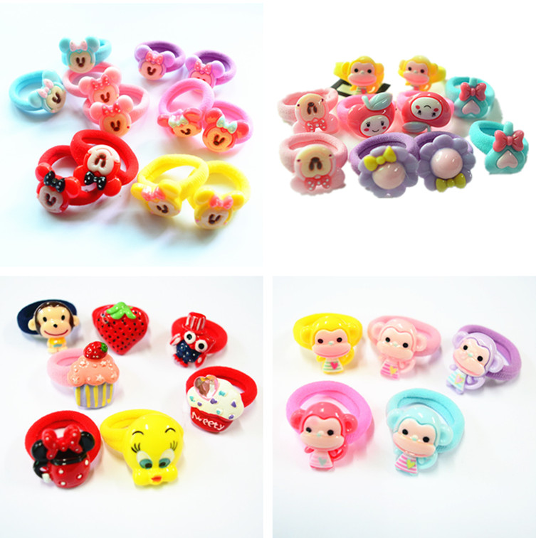 10 Pcs(5 Pairs) Cartoon Candy Color Elastic Hair ties Ropes Hair holder For Baby Girls' Sweet Hair Accessories(China (Mainland))