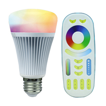 2.4G Wireless E27 8W RGBWW+ Color Temperature Dimmable 2 in 1 Smart MiLight LED Bulb With 2.4G RF Remote Controller AC85-265V(China (Mainland))